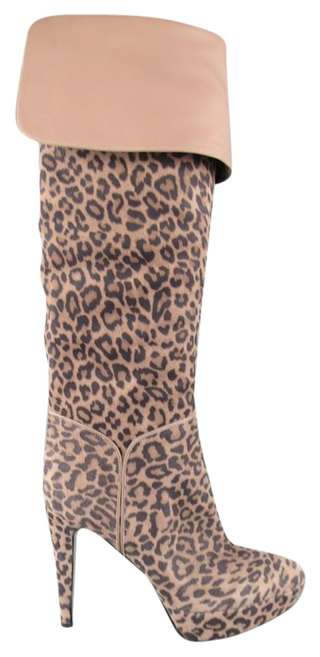 6f737e5da33 Sergio Rossi Taupe Leopard Print Suede Over The Knee Platform Boots Booties