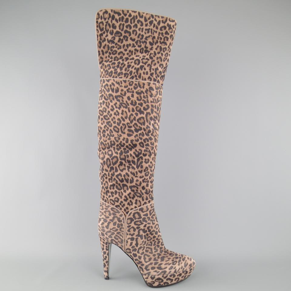 a886b8711e4 Sergio Rossi Taupe Leopard Print Suede Over The Knee Platform Boots ...