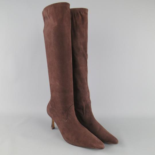 Manolo Blahnik Suede Knee High Italian Stiletto Fall Brown Boots