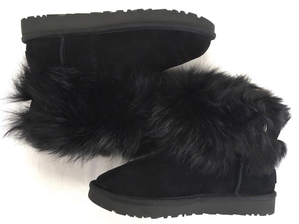 719a2b8ba UGG Australia Winter Shearling Ankle Furry Black Boots Image 11.  123456789101112