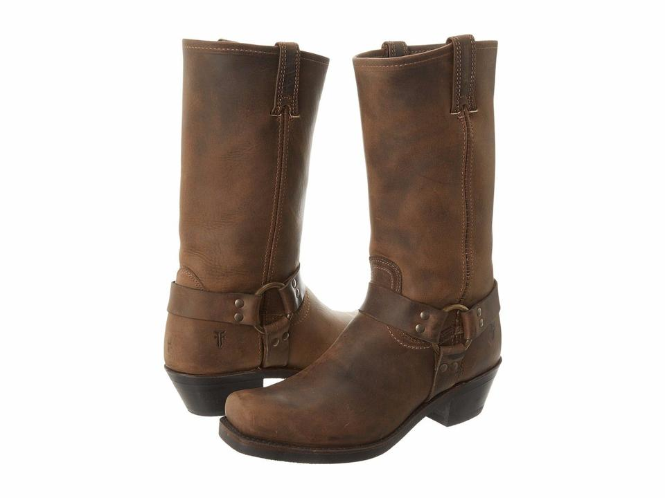 Frye Tan Harness Calf 12r Distressed Leather Mid Calf Harness Western Boots/Booties 0d42aa