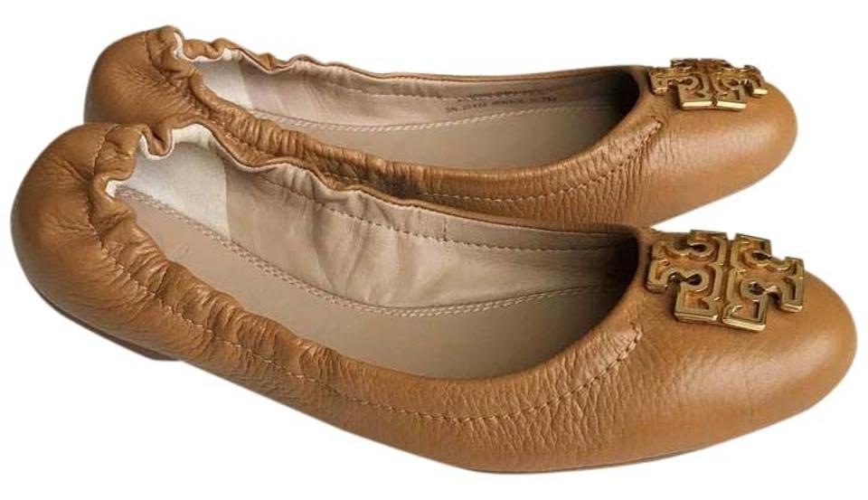 ee2ce6257f0 Tory Burch Royal Tan Melinda Ballet Tumbled Leather Flats Size US 7 ...