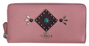 Coach COACH WESTERN RIVETS PINK LEATHER ZIP AROUND ACCORDION WALLET