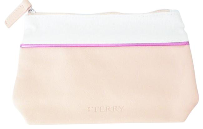 Item - Apricot Purple and White Clutch Faux Leather Fabric Makeup Pouch Sac Cosmetic Bag
