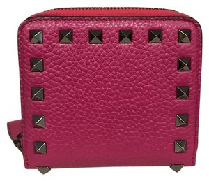 Valentino Valentino Rockstud Pink Leather Small Zip Around French Wallet Clutch