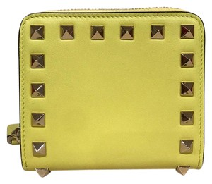 Valentino Valentino Rockstud Yellow Leather Small Zip Around French Stud Wallet
