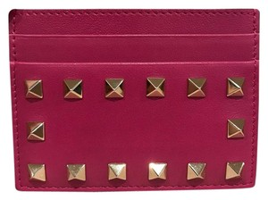 Valentino Valentino Rockstud Pink Leather Small Credit Card Holder Case Wallet
