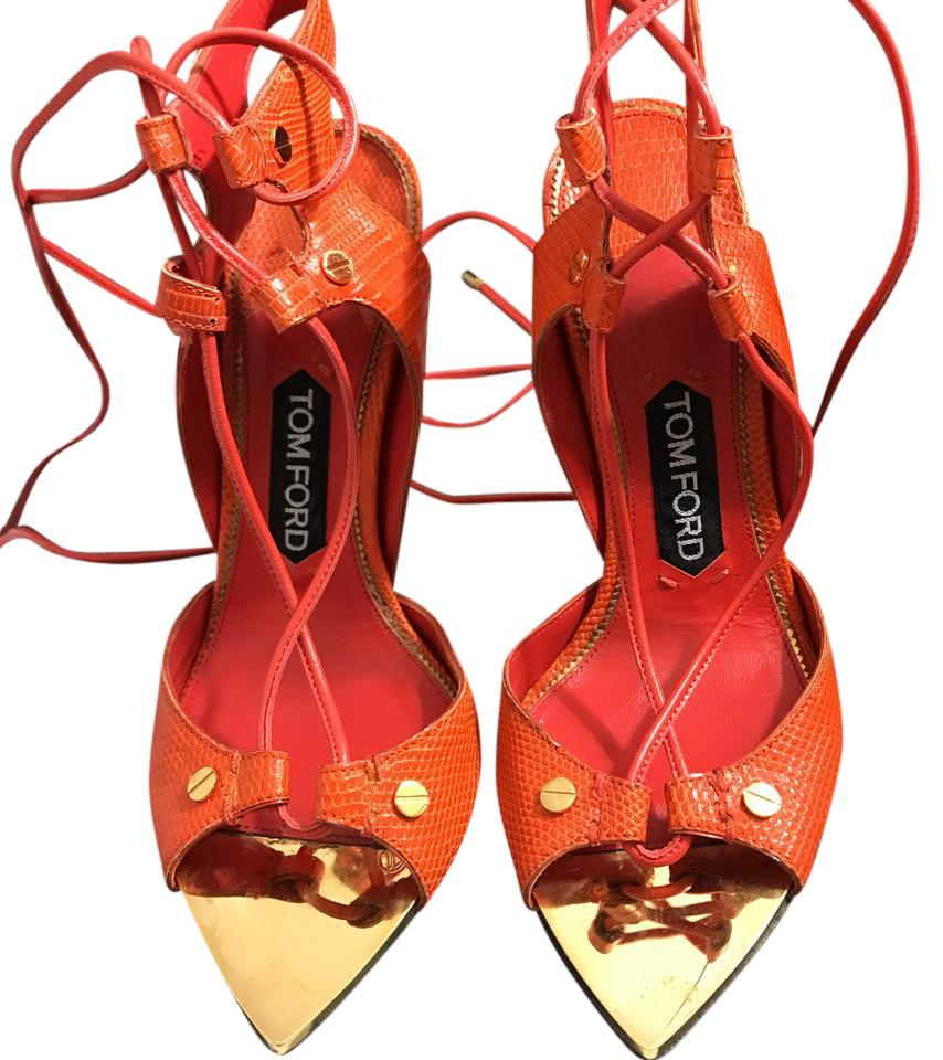23b676ab36d Tom Ford Orange Tangerine Gold Point Platforms Size US 7.5 Regular ...