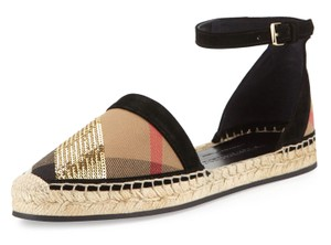 Burberry Tan and Black Sandals