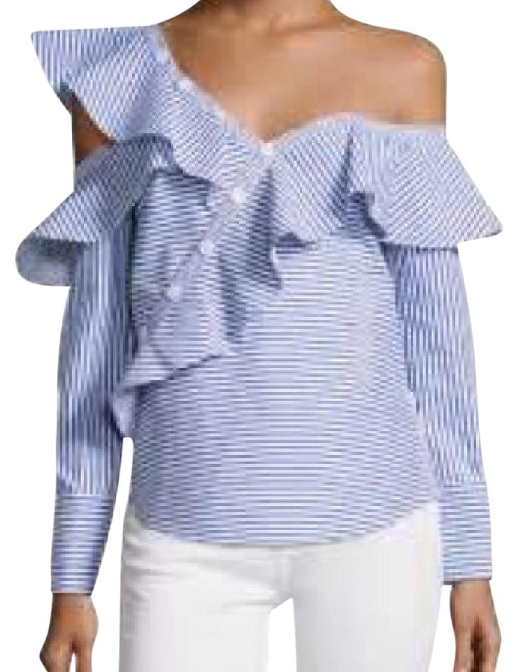 dc818828acc0 self-portrait White/Blue Blouse Size 2 (XS) - Tradesy