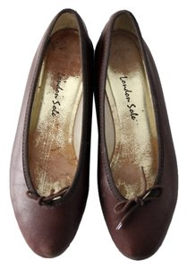 London Sole Ballet Brown Leather Dark Brown Flats