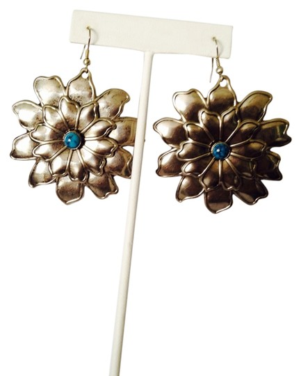 Preload https://item2.tradesy.com/images/silverturquoise-nwot-double-row-silver-tone-blue-stone-dangle-earrings-2197696-0-0.jpg?width=440&height=440