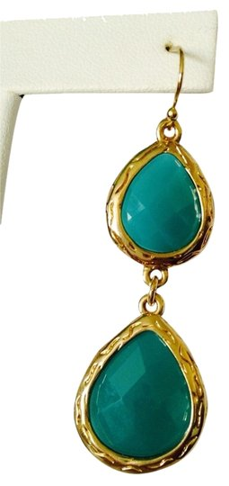 Neiman Marcus NWOT Faceted Turquoise Agate In 14kt Gold-Plate Dangle Earrings Image 1