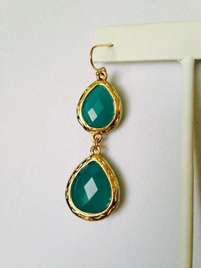 Neiman Marcus NWOT Faceted Turquoise Agate In 14kt Gold-Plate Dangle Earrings Image 2