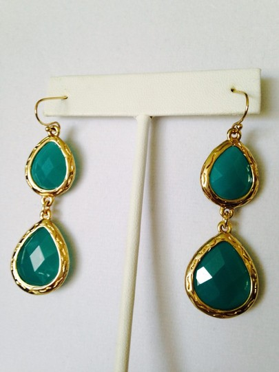 Neiman Marcus NWOT Faceted Turquoise Agate In 14kt Gold-Plate Dangle Earrings
