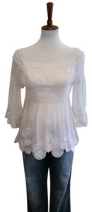 Catherine Malandrino Silk Embroidered Top Ivory