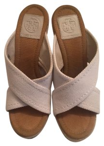 Tory Burch Espadrille Gold Hardware White Wedges