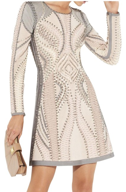 Item - Multicolor Abelle Embellishment Blocked Mesh Runway Collection Mid-length Cocktail Dress Size 8 (M)
