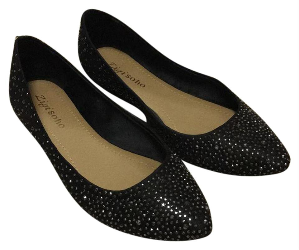cbcb06efbbda ZIGI soho Black Satin Tilly Flats Size US 6.5 Regular (M