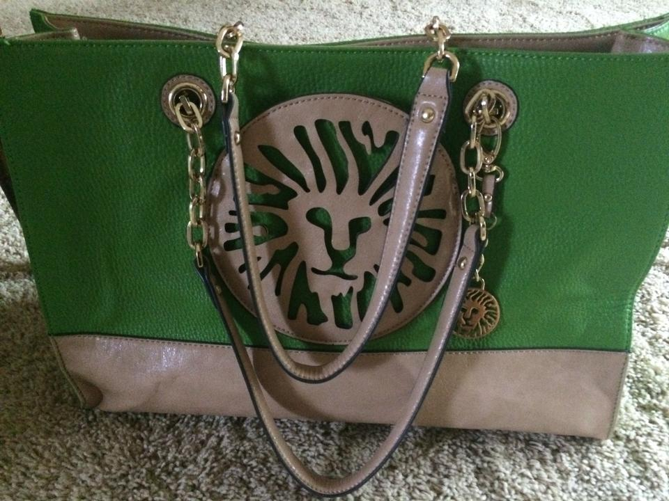 91e1177951 Anne Klein Leo Legacy Large Lime Green Tan Leather and Faux Leather ...