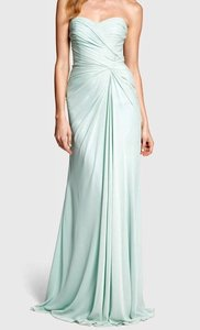 Monique Lhuillier Mint Draped Smooth Chiffon 150170 Formal Bridesmaid/Mob Dress Size 0 (XS)