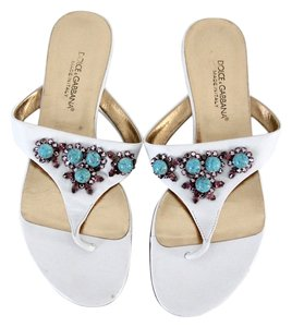 Dolce&Gabbana Thong Rhinestones Turquoise Leather White Sandals