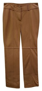 Hugo Buscati Petite Leather Straight Pants Nude