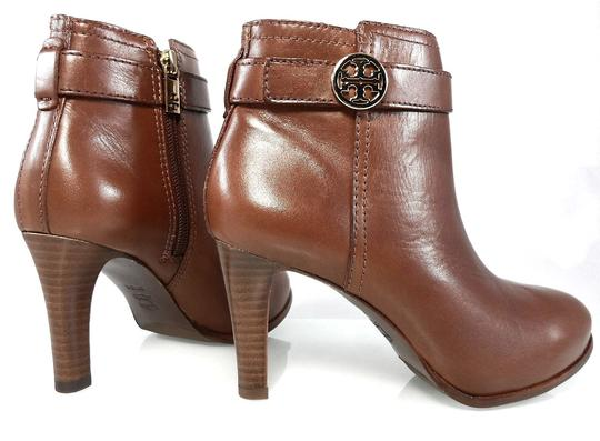 Tory Burch Leather Stiletto Logo Gold Hardware Brown Boots Image 1