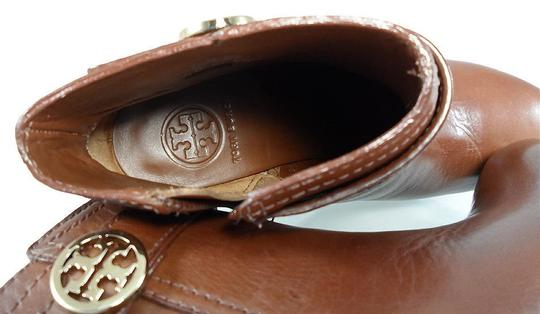 Tory Burch Leather Stiletto Logo Gold Hardware Brown Boots Image 2