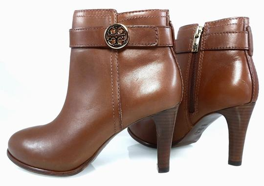Tory Burch Leather Stiletto Logo Gold Hardware Brown Boots Image 4