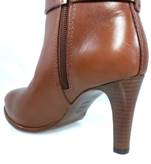 Tory Burch Leather Stiletto Logo Gold Hardware Brown Boots Image 5