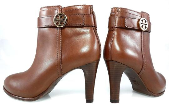 Tory Burch Leather Stiletto Logo Gold Hardware Brown Boots Image 6