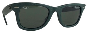 Ray-Ban Ray-Ban RB 2140-Q-M Wayfarer Sunglasses Green Genuine Leather Green G-15 Lenses