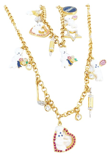 Item - Gold 24k Plated Pillsbury Charm Bracelet And Necklace