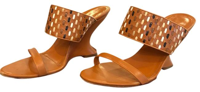 Item - Caramel Leather Base with Woven Leather Strips Of Brown Beige & White. Wedge Sandals Size US 8 Regular (M, B)