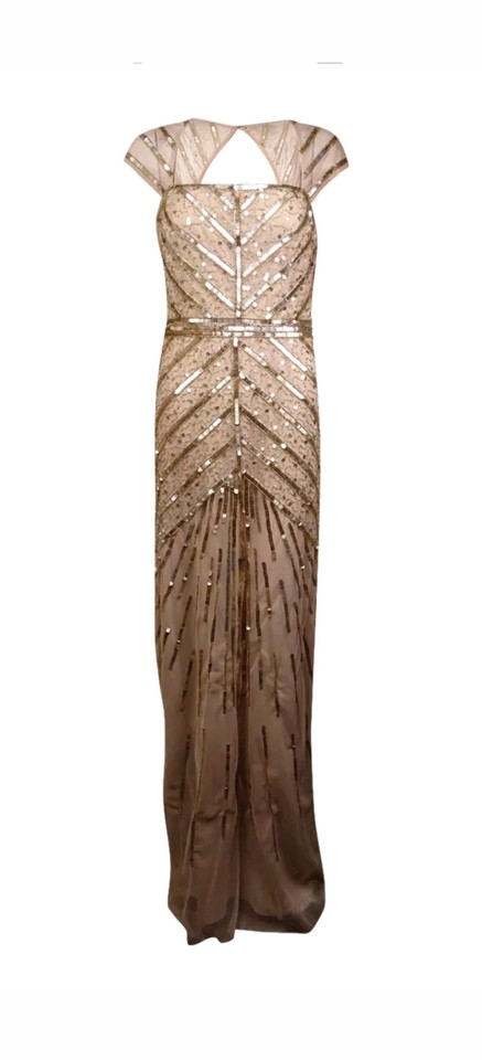 Adrianna Papell Champagne/Gold Mesh Metallic Cap Sleeve Sequin Gown ...