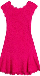 Diane von Furstenberg Pink Dvf Lace Mini Dress