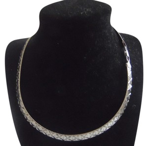 Technibond Technibond Platinum Over .925 Sterling Silver High Polished Textured 16 Inch Omega Necklace with Lobster Claw Clasp