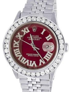 Rolex Mens Datejust 36MM Quickset 16014 Red Dial Diamond Watch 5.0 Ct
