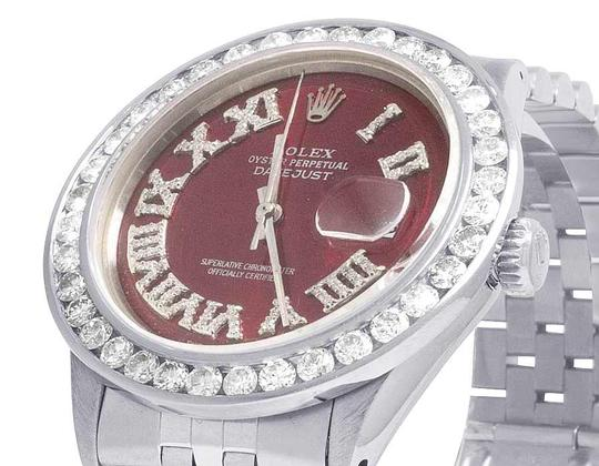Rolex Mens Datejust 36MM Quickset 16014 Red Dial Diamond Watch 5.0 Ct Image 2