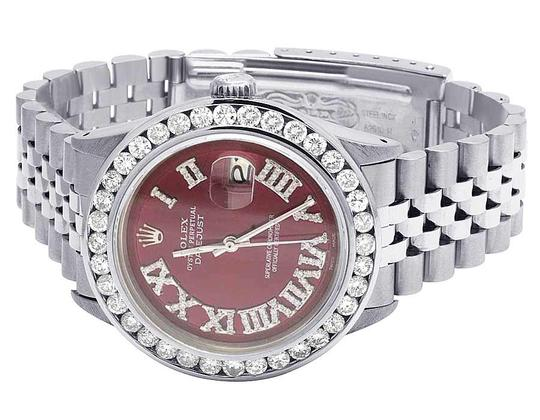 Rolex Mens Datejust 36MM Quickset 16014 Red Dial Diamond Watch 5.0 Ct Image 3