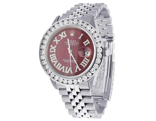 Rolex Mens Datejust 36MM Quickset 16014 Red Dial Diamond Watch 5.0 Ct Image 6