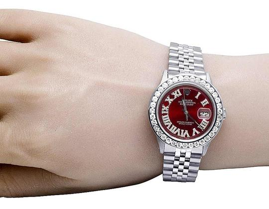 Rolex Mens Datejust 36MM Quickset 16014 Red Dial Diamond Watch 5.0 Ct Image 7
