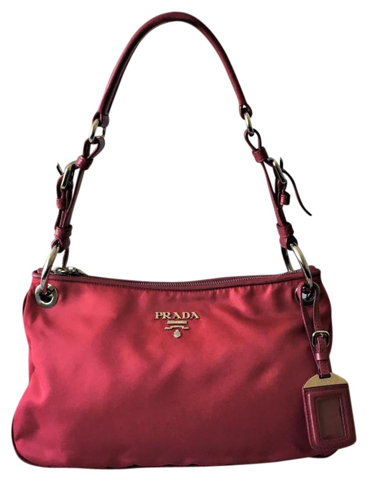 Prada Tessuto Sacca Red Dark Pink Nylon and Leather Shoulder Bag ... fce2bb12930