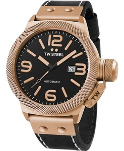 TW Steel CS75 Canteen Men's Black Leather Bracelet With Black Dial Watch
