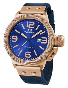 TW Steel CS66 Canteen Men's Blue Leather Bracelet With Blue Dial Watch