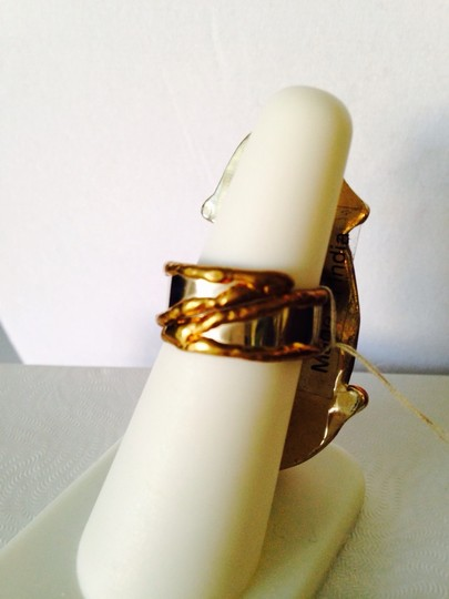 Other Embellished by Leecia Blue Brazilian Sliced Agate In 14kt Gold & Copper Adjustable Ring