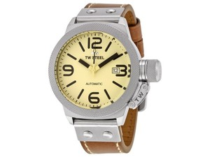 TW Steel CS15 Canteen Men's Brown Leather Bracelet With Cream Dial Watch