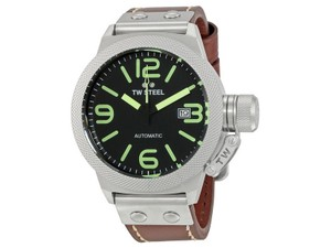TW Steel CS25 Canteen Men's Brown Leather Bracelet With Black Dial Watch