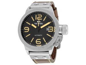 TW Steel CS35 Canteen Men's Brown Leather Bracelet With Black Dial Watch